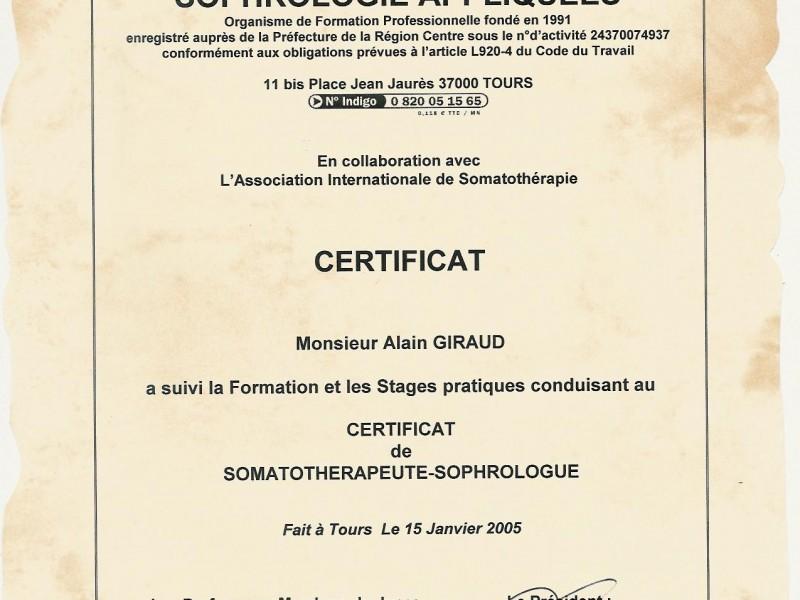 Certificat de Somatothérapeute Sophrologue