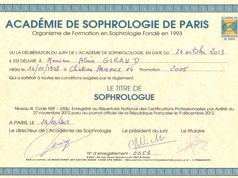 SOPHROLOGUE CERTIFICATION PROFESSIONNELLE RNCP