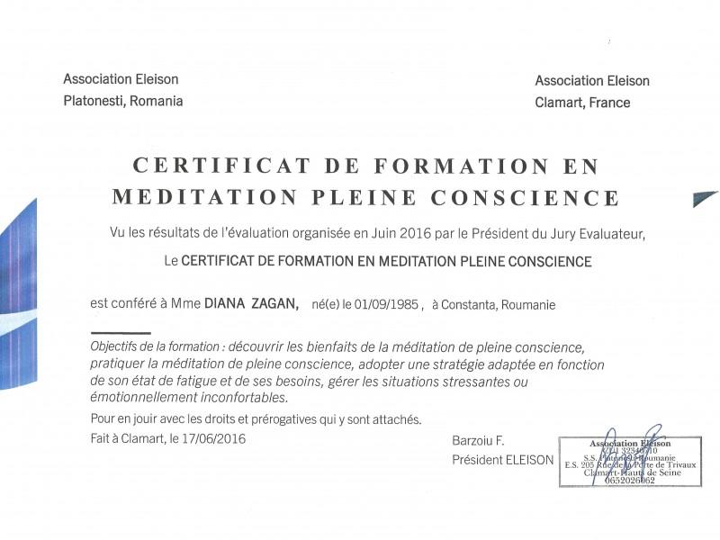 Certificat de Formation en Méditation pleine conscience